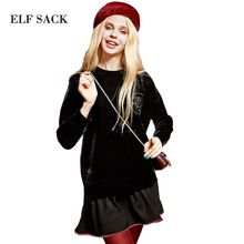 Elf SACK w autumn loose preppy style embroidery faux two piece set sweatshirt female long design(China (Mainland))