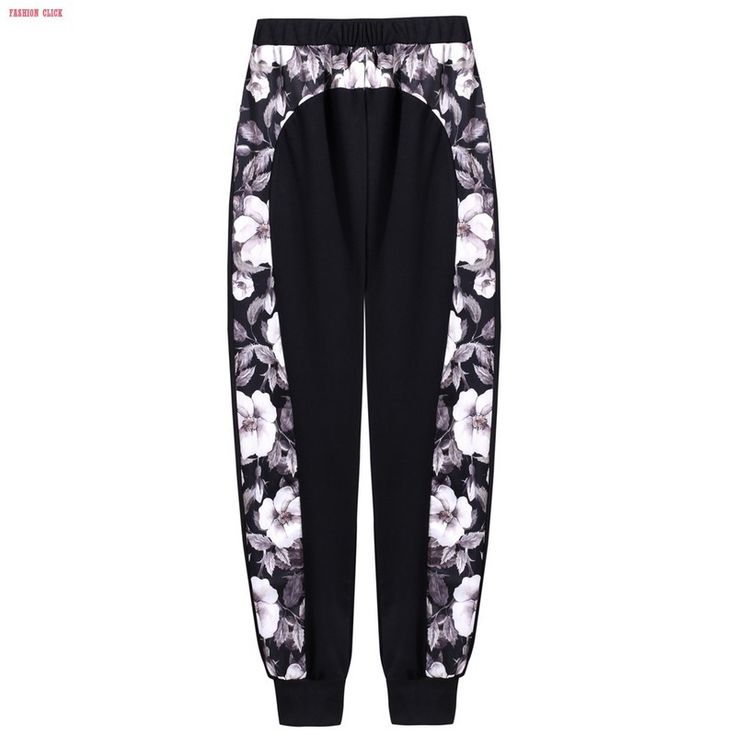New Trousers Women Sport Pants Fashion Casual Elastic High Waist Floral Print Patchwork Cuffed Joggers Pants Pantalon Femme 6YC