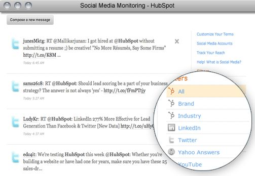 Monitor the keywords and brand terms most relevant to your company - and follow up within the tool.