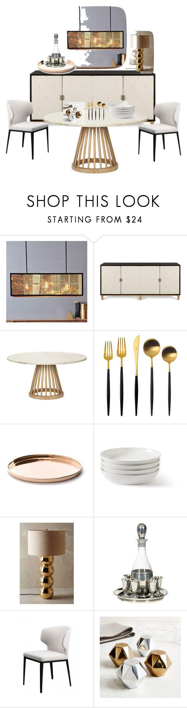 Modern Glam Dining by passionatemae on Polyvore featuring interior, interiors, interior design, home, home decor, interior decorating, Bernhardt, Tom Dixon, West Elm and Cutipol