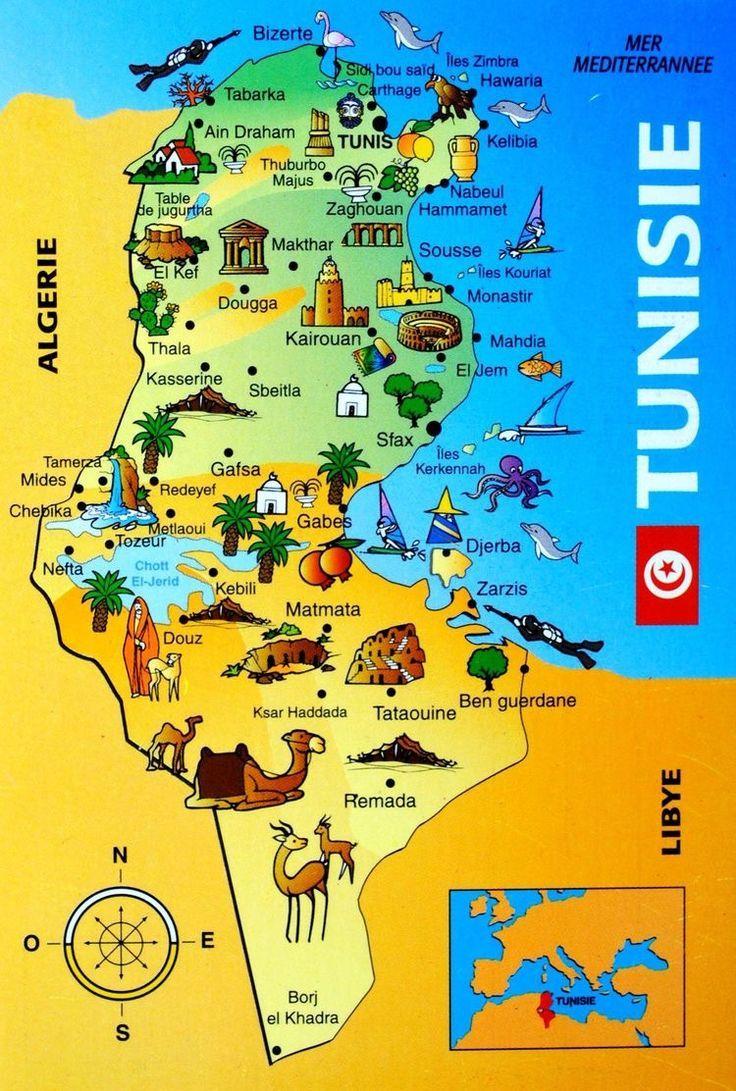 Mapa Turistico Da Tunisia Tunisia Map Map Africa Travel