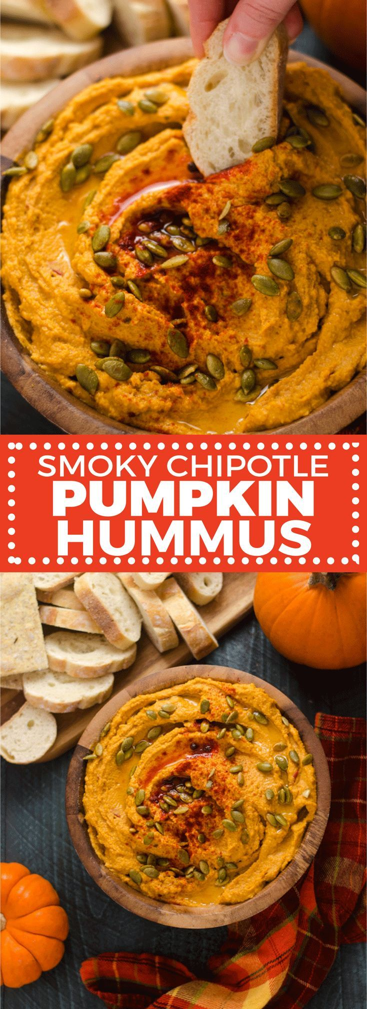 Smoky Chipotle Pumpkin Hummus. This quick, easy, and flavorful fall appetizer is perfect for party food or a fall snack.