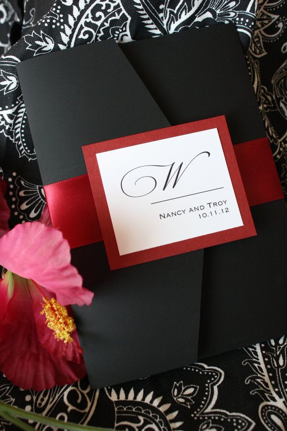 luscious ruby red and black noir pocketfold wedding invitation