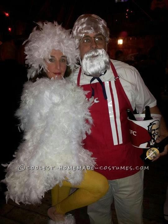 Cool Homemade Couple Costume Idea: Colonel Sanders (KFC) and a Chicken... This website is the Pinterest of costumes