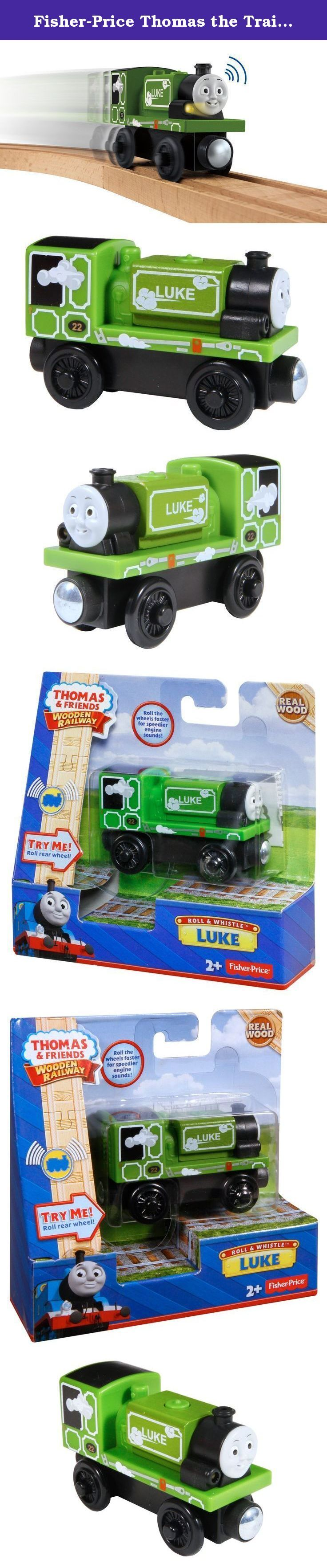 "Fisher-Price Thomas the Train Wooden Railway Roll & Whistle Luke. Luke whistles and features fun train sounds! Roll once to hear him chuff and whistle... roll the wheel faster for speedier engine sounds! Features a working headlight and easy-to-use magnet connector to connect Luke to other engines (sold separately and subject to availability)! Requires 1 ""AG13"" (LR44) battery (not included)."