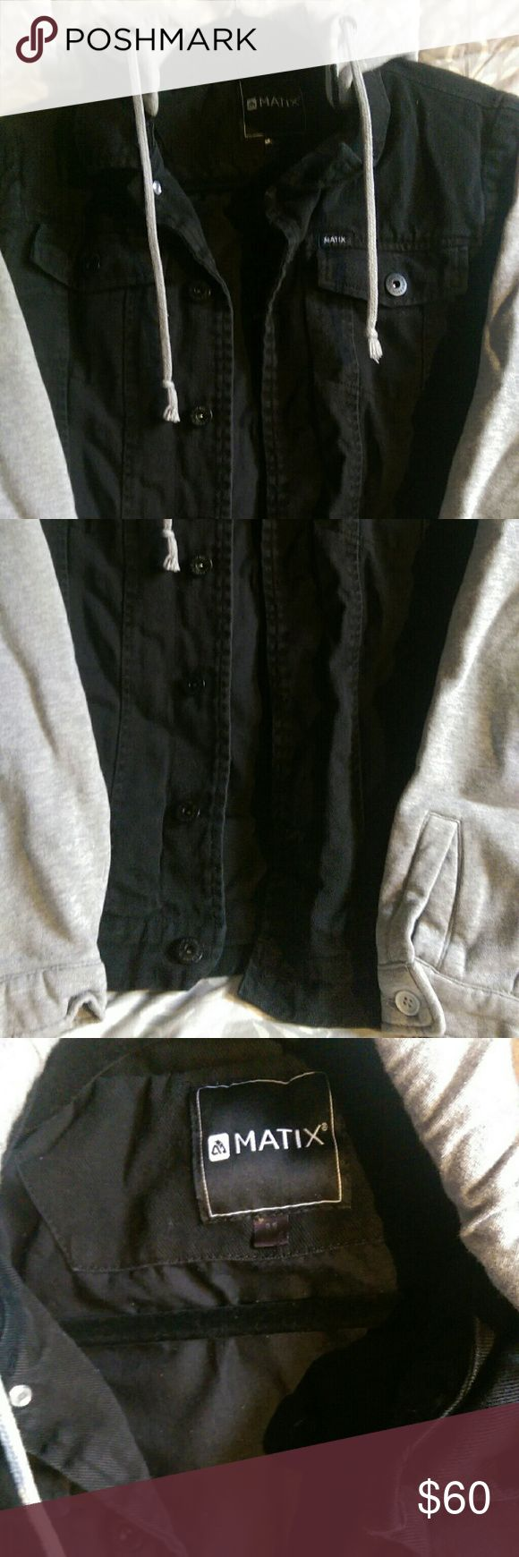 Matix Jean Jacket With Hoodie Worn a bit, good condition. Black Jean Cloth, with Cotton Sleeves and Hood. Keeps you warm and perfect for spring and late fall. Matix Clothing Company Jackets & Coats Jean Jackets