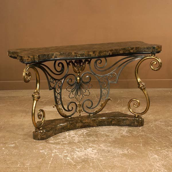 Venetian style brass and wrought iron serpentine f