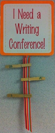 Want an easy way to indicate a student needs a Writing Conference with the teacher? After the students have completed a rough draft of their writing, ask them to attach a clothes peg to this sign. It's easy and simple, and will ensure all students are on track with their writing!