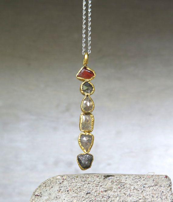 Rose cut Diamond pendant rough diamond by CJbijoux on Etsy