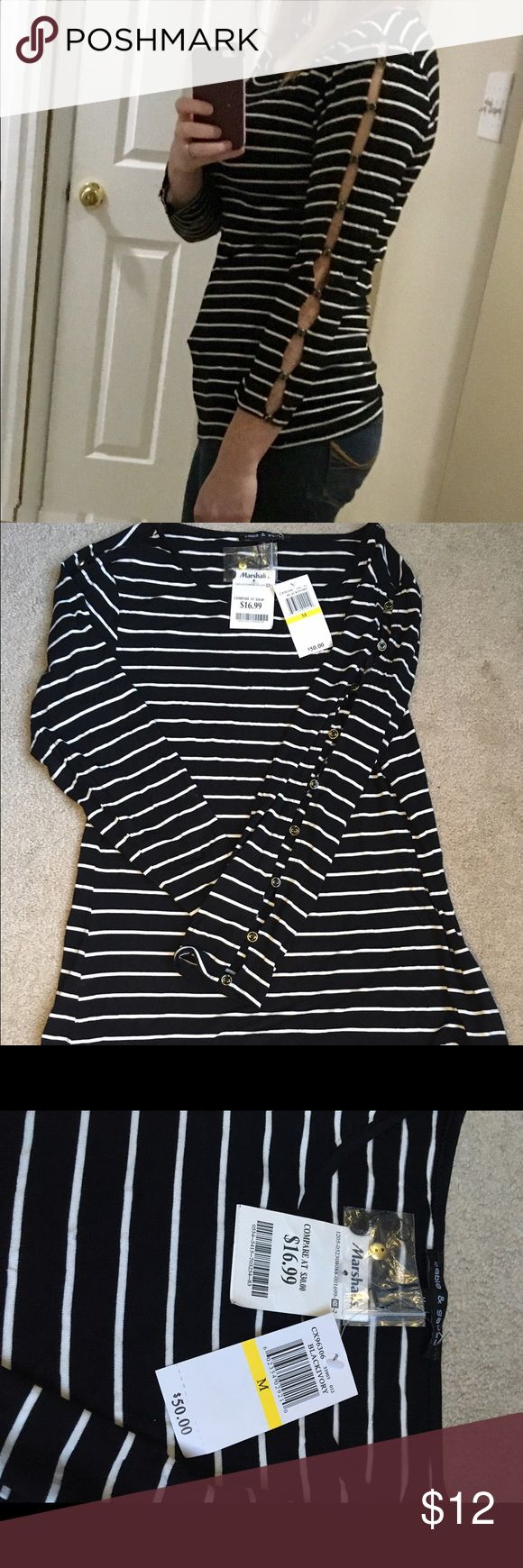Brand new Marshalls striped top Brand new with tags black and white striped Marshalls top with slit sleeves. Material 97% Viscose 3% Spandex marshalls Tops Tees - Long Sleeve