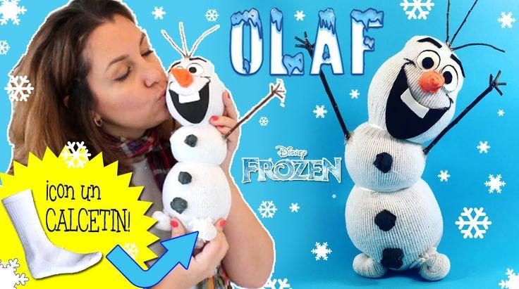 Muñeco de nieve OLAF hecho con calcetín * Manualidades NAVIDEÑAS