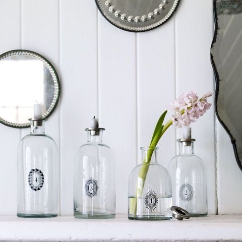for candles or flowers: Vintage Bottles, Numbered Glass, Antiquemall Ideas, Glass Bottles, Cool Ideas, Bottles And Jars, Decoration Ideas, Numbered Bottles