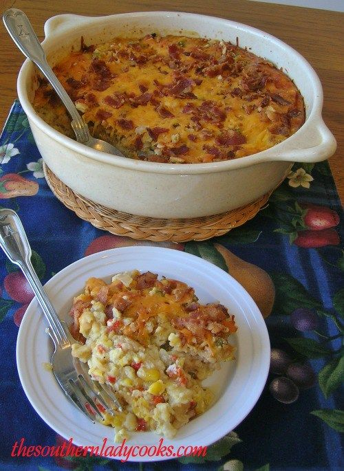 This corn casserole is so good and the bacon flavor really adds to the recipe.  A great side dish for any meal. 4 slices bacon, cooked crisp (save drippings)3 tablespoons bacon drippings3/4 cup oni…