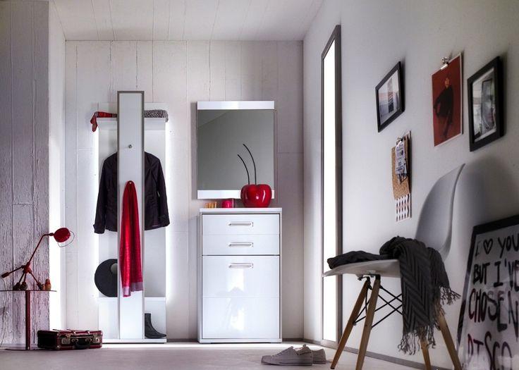 Garderobe komplett Trento 1 Garderobenset Weiß HG mit Edelstahl 20894. Buy now at https://www.moebel-wohnbar.de/garderobe-komplett-trento-1-weiss-edelstahl-20894