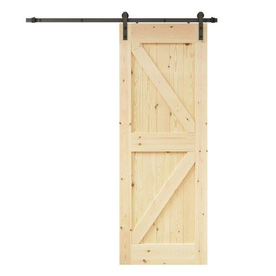 Creative Entryways Sliding Barn Door Unfinished 1 Panel Wood Pine Barn Door Hardware Included Common 28 In X 80 In Ac Barn Door Hardware Entryway Door Kits