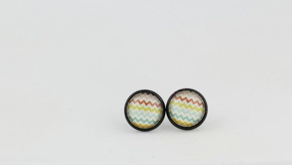 Striped Stud Earrings - Patterned Earrings - 12mm Stud Earrings - RicRac Earrings - RickRack Earrings - Gift for Her - Cute Earrings