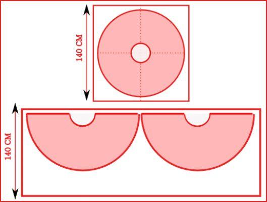 Nous allons diviser le cercle en quatre pour le patron et nous allons plier le tissu en quatre pour le couper. Donc faites attention. Cette jupe est très ...