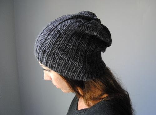 M A G N E T I T E - Hat design by Lisa Mutch -   Varying ribbed texture make this slouchy hat an interesting knit and a stylish winter accessory. http://www.ravelry.com/patterns/library/magnetite-hat