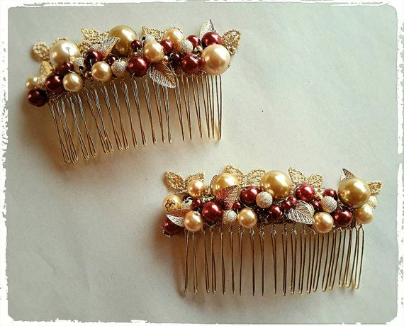 Check out this item in my Etsy shop https://www.etsy.com/uk/listing/484739578/gold-hair-combs-wired-with-burgundy