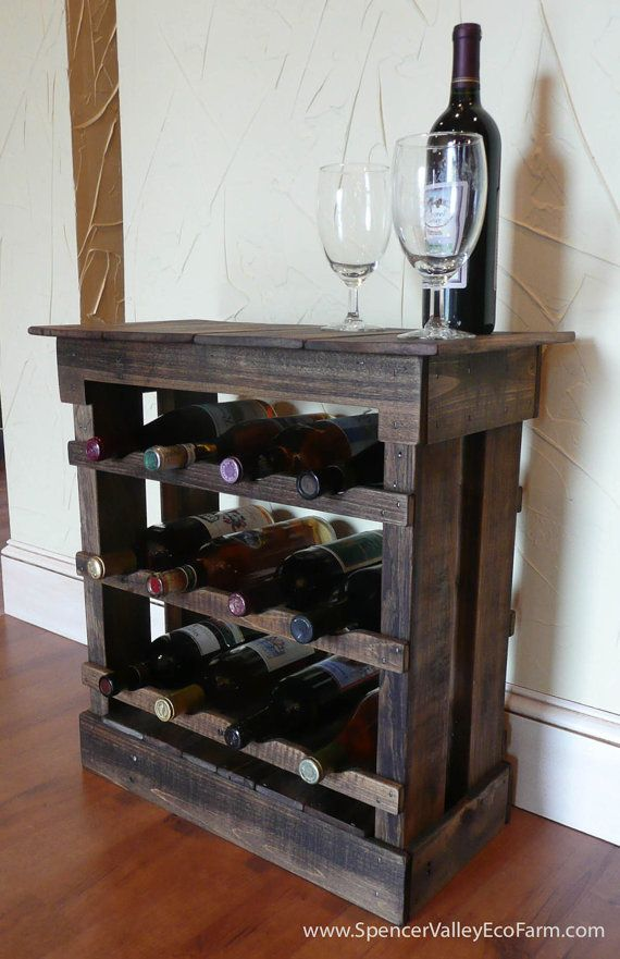 Dark Pallet Wood 12 bottle Wine Rack Floor or Counter Top Rustic Reclaimed Wine Stave, Wine Storage, Bottle Storage, Wine Decor on Etsy, $74.99