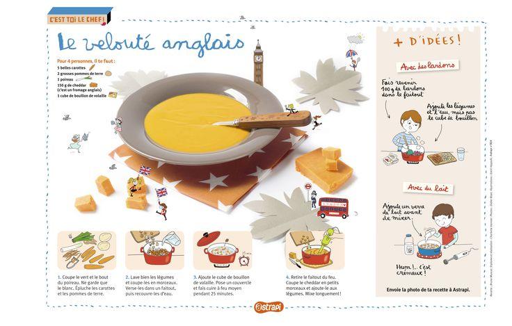 Le velouté anglais. Une recette de délicieuse soupe avec du cheddar, le célèbre fromage anglais! (Extrait du magazine Astrapi n°824, pour les enfants de 7 à 11 ans)