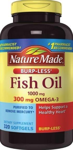 Nature Made Fish Oil 1000mg, Omega 3 300mg, Burp-Less Softgel , 320 Count #NA
