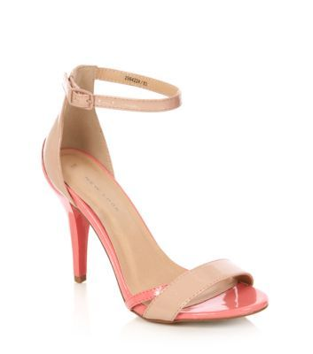 Nude Contrast Patent Ankle Strap Heels