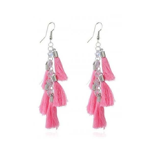 Pink Rhinestone Statement Tassels Chain Earrings (84 UYU) ❤ liked on Polyvore featuring jewelry, earrings, tassle earrings, fringe tassel earrings, pink earrings, pink tassel earrings and rhinestone stud earrings