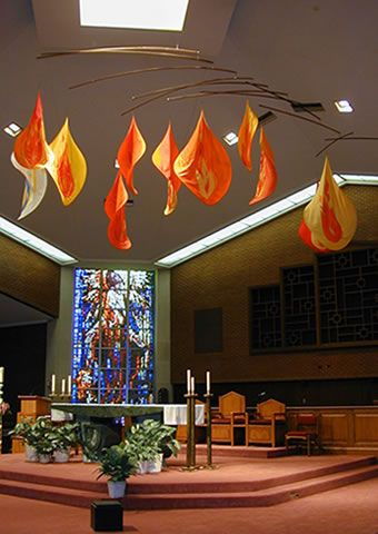 Immaculate Conception Church, Highland Park, Illinois— Judy Dioszegi, designer -- Tongues of Fire—Pentecost Mobile armature: 11' w, rotates in 31' circle Flames: each 4–8' l 100% nylon fabric