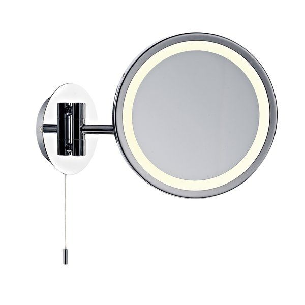 Picture Gallery Website Magnifying bathroom mirror with on off pull cord From Dar Lighting Gibson Magnifying bathroom mirror with a swivel arm for multi position use