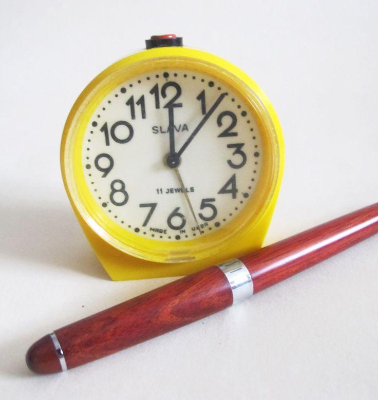 Yellow Alarm Clock, Retro Alarm Clock, Soviet Mechanical Alarm Clock Working, Mid Century Desk Clock, Farmhouse Decor by USSR70s on Etsy https://www.etsy.com/listing/266205864/yellow-alarm-clock-retro-alarm-clock