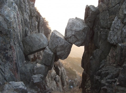 Nature doing an Andy GoldsworthyNature Stones, Immortal Bridges, Mount Tai, Rocks Formations, The Bridges, Places, Ice Age, New Zealand, China