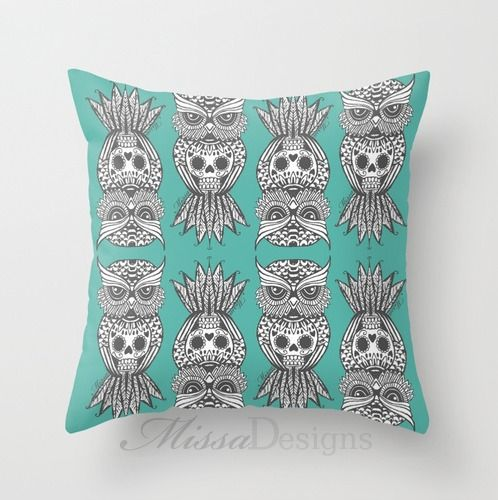 'Sugar Skull Hootle' cushion cover design Colourway: Teal with grey owl. Design by Missa Designs. Copyright 2013