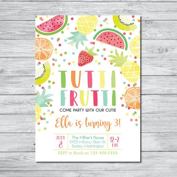 Tutti Frutti Birthday Invitation, Summer Party for Kids