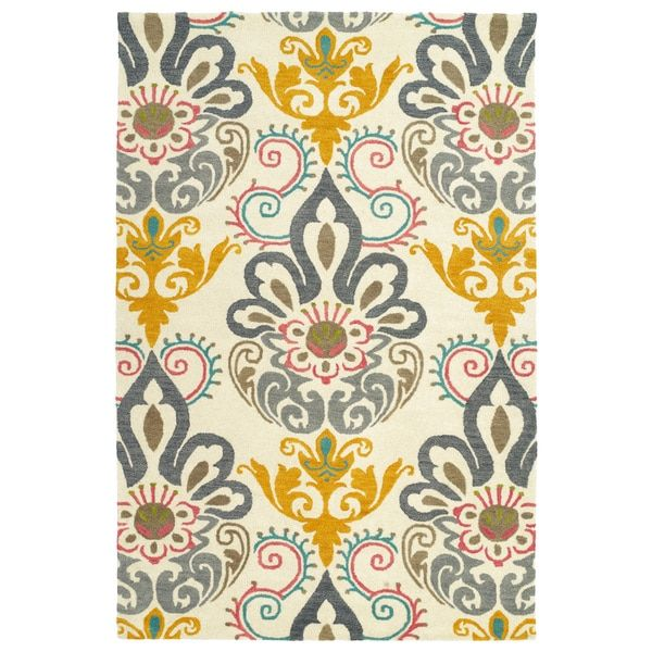 Hand-Tufted de Leon Ivory Damask Rug (8'0 x 10'0)