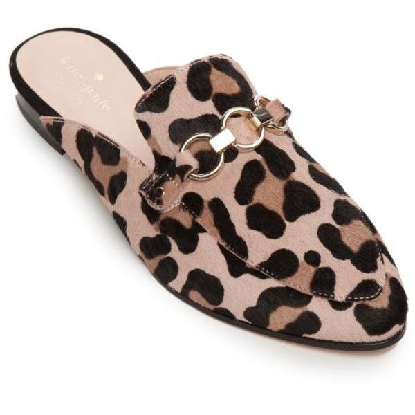 Kate Spade New York  Cece Too Slip On Mule ($268) ❤ liked on Polyvore featuring shoes, blush fawn, leopard mules shoes, leopard mules, leopard slip-on shoes, pull on shoes and leopard print mules