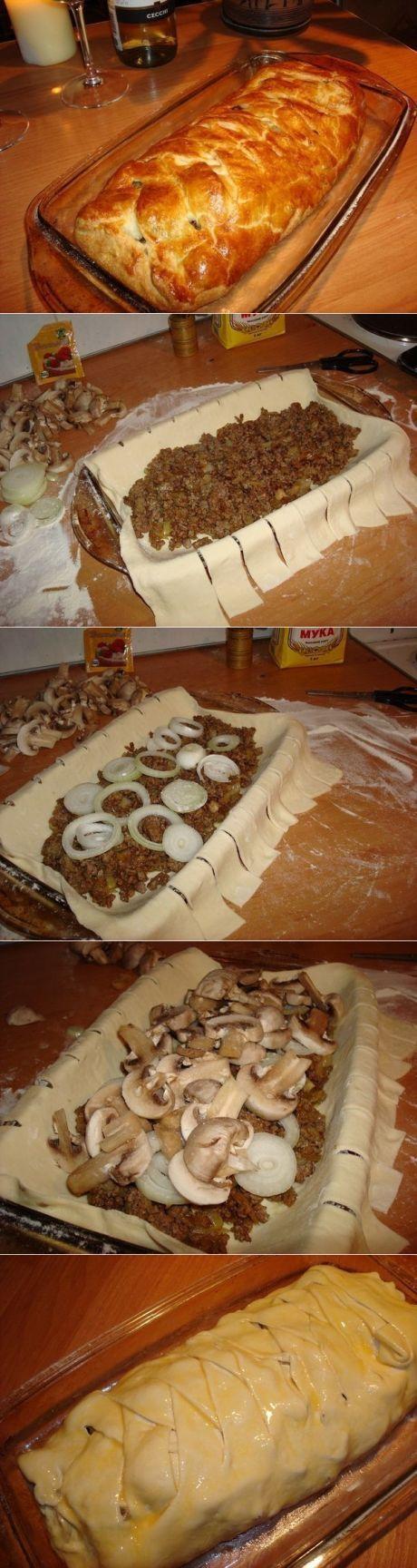 Как приготовить быстрый мясной пирог с грибами - рецепт, ингредиенты и фотографии