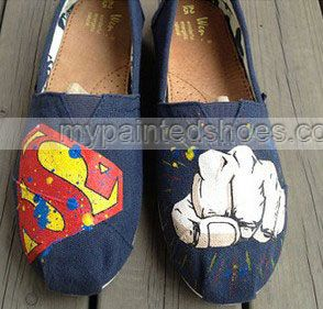 2013 New Style Mens #Superman Man of Steel and Painted Shoes Cust,Slip-on Painted Canvas Shoes