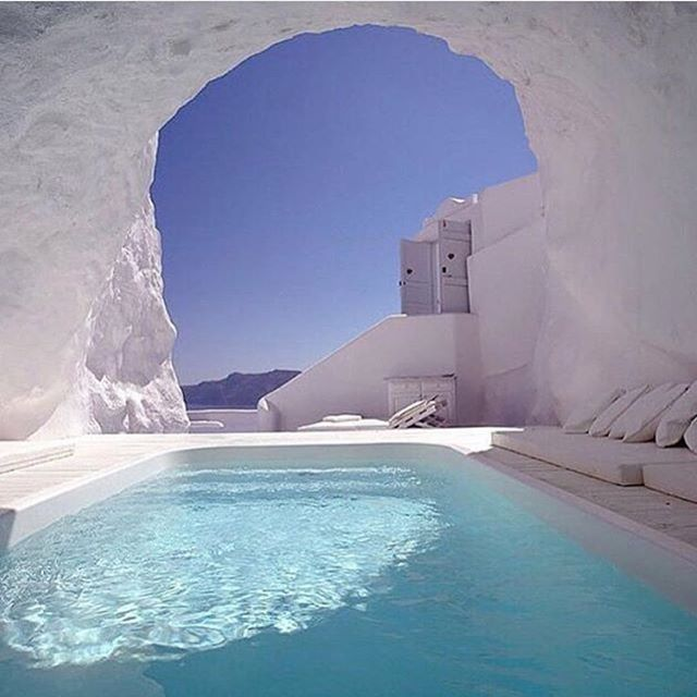 Pool in a cave katikies hotel santorini greece these hotels look insane