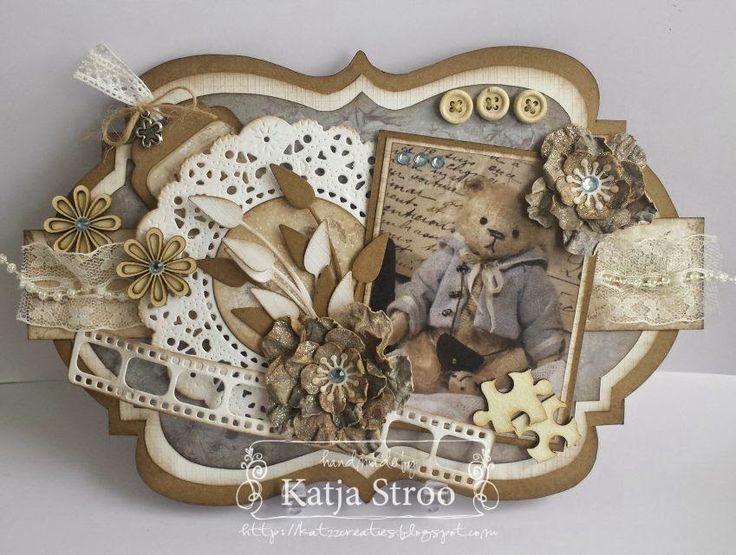 Shape Art kaartje met beer! gemaakt door Katja Stroo.