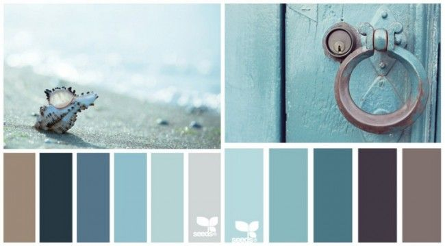 Grau, Braun, Mintgrün und Salbeigrün