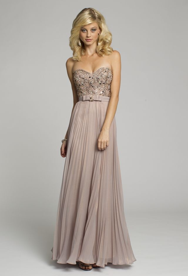 Bridesmaid dresses metallic chiffon strapless long dress for Wedding dresses in the usa