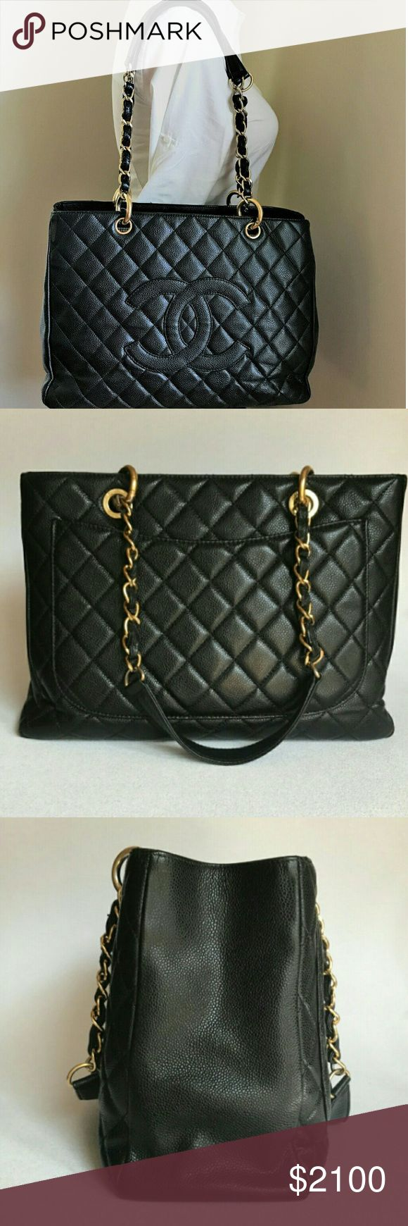 Black Caviar Pre owned Chanel Grand Shopping Tote Pre owned, in Fair condition No scuffs, just some bends on the sides. Price is firm, no trades offers please. CHANEL Bags Totes