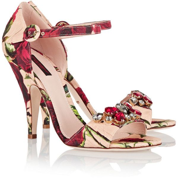 Dolce & Gabbana Embellished floral-print brocade sandals (€305) ❤ liked on Polyvore featuring shoes, sandals, heels, dolce&gabbana, colorful sandals, floral sandals, strappy heeled sandals, floral strappy sandals and multi color sandals