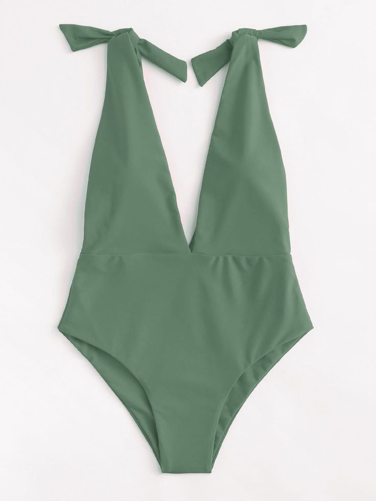 Deep V Self Tie One Piece Swimsuit -SheIn(Sheinside)