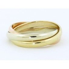 9CT 3 TONE GOLD RING 3 BAND 2.5MM RUSSIAN WEDDER - $489.00