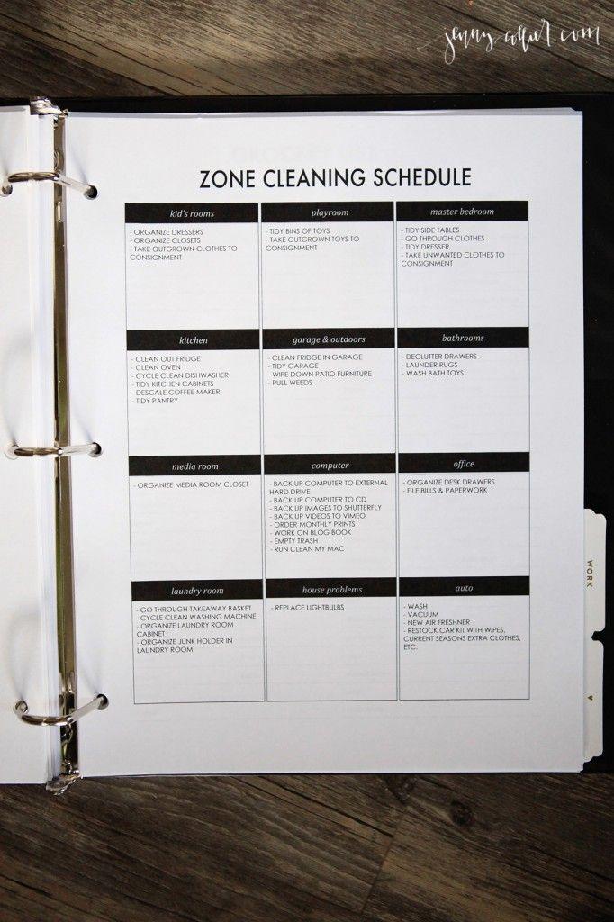 Editable Zone Cleaning printable for your Homekeeping Binder