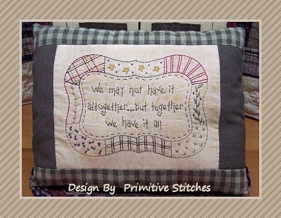 Together Quilt-Primitive Saying Stitchery E-PATTERN-by