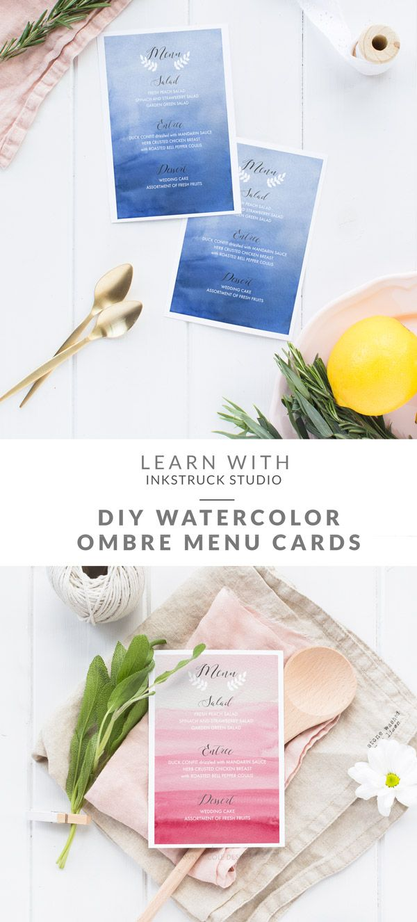 Watercolor ombre background menu cards- Inkstruck Studio for Dawn Nicole Designs