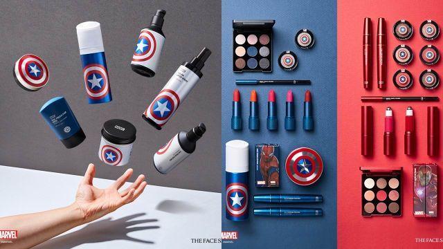 Coleção de maquiagens Marvel A marca The Face Shop lançou já tem um tempo uma coleção que faz referencia aos heróis da Marvel, para quem não sabe estão incluídos nessa lista Capitão América, Homem Aranha, Homem de Ferro e tantos outros heróis.
